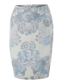 Printed leather pencil skirt