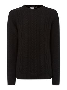 welch cable crew neck knitwear