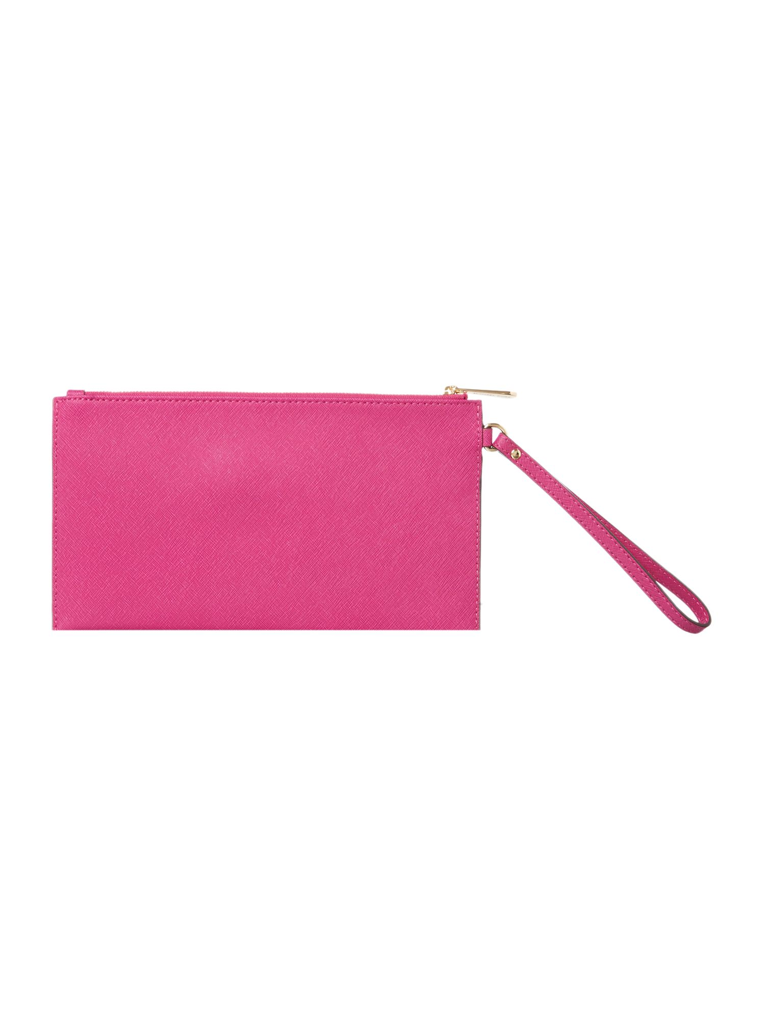 Pink large zip clutch bag