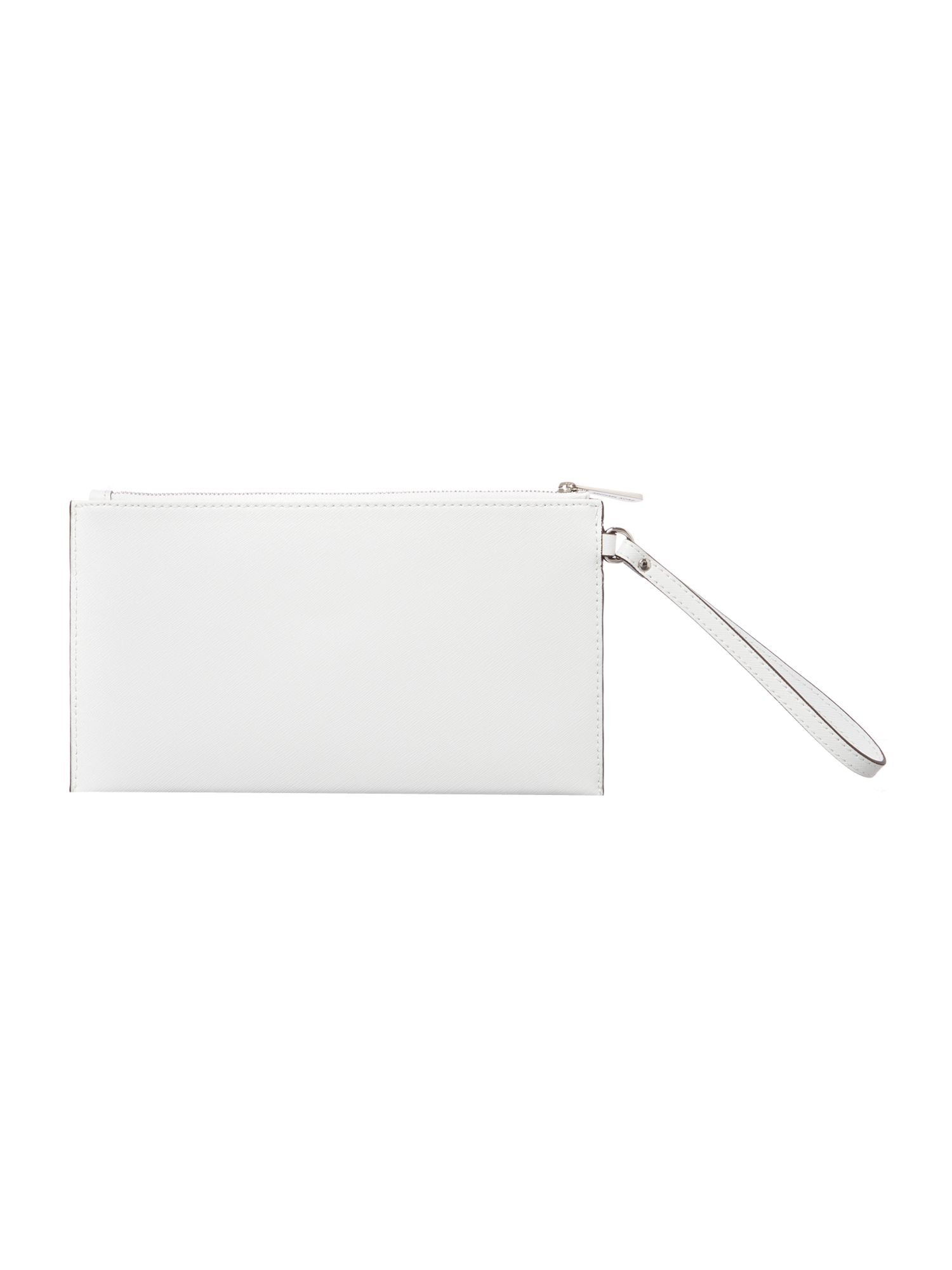 White large zip clutch bag