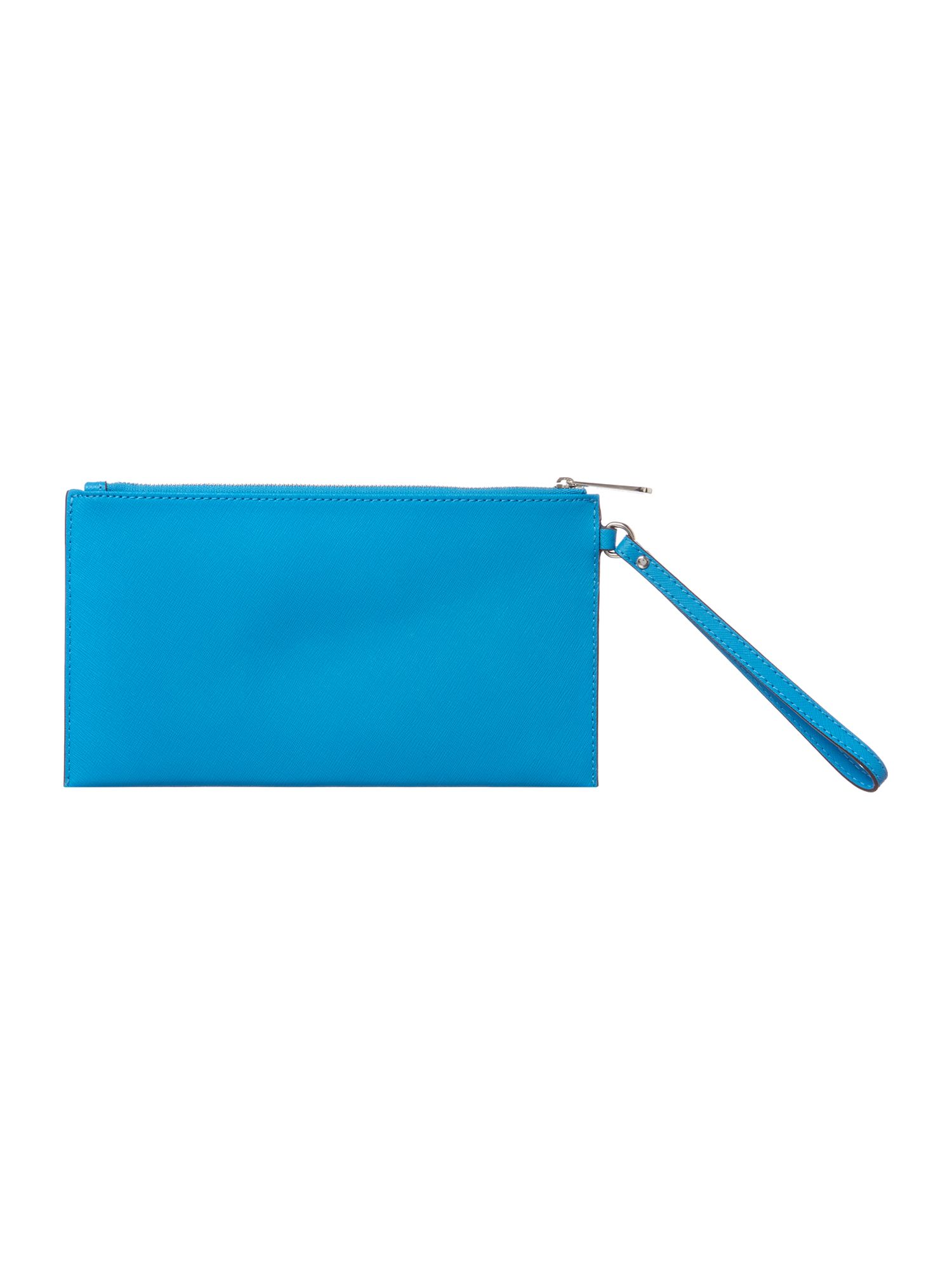 Blue large zip clutch bag