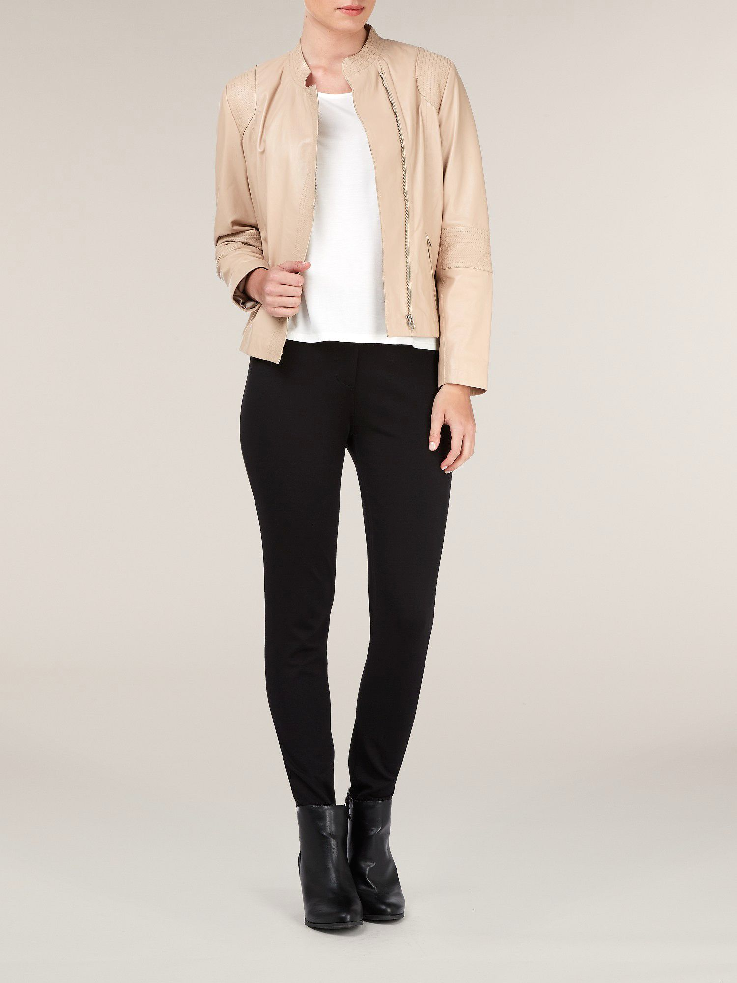 Asymmetric front leather jacket