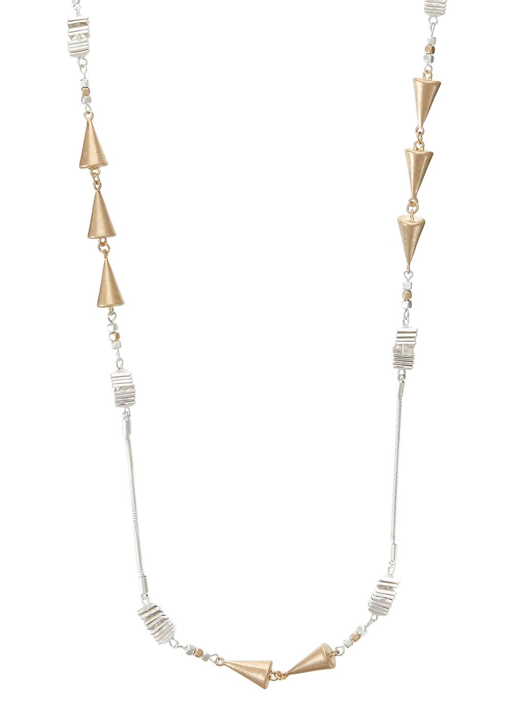 Triangle bead long rope necklace