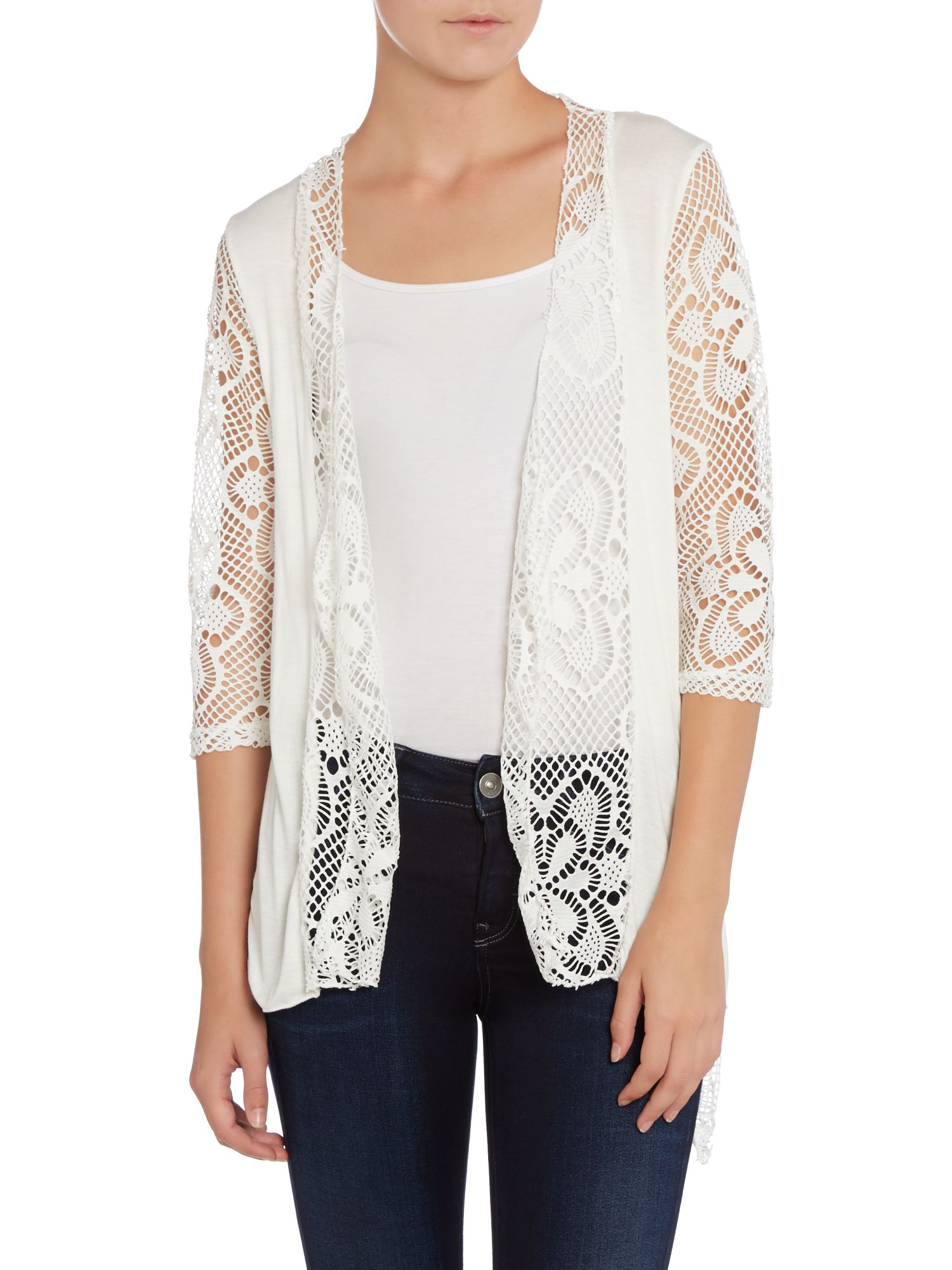 Laser cut floral lace panel cardigan
