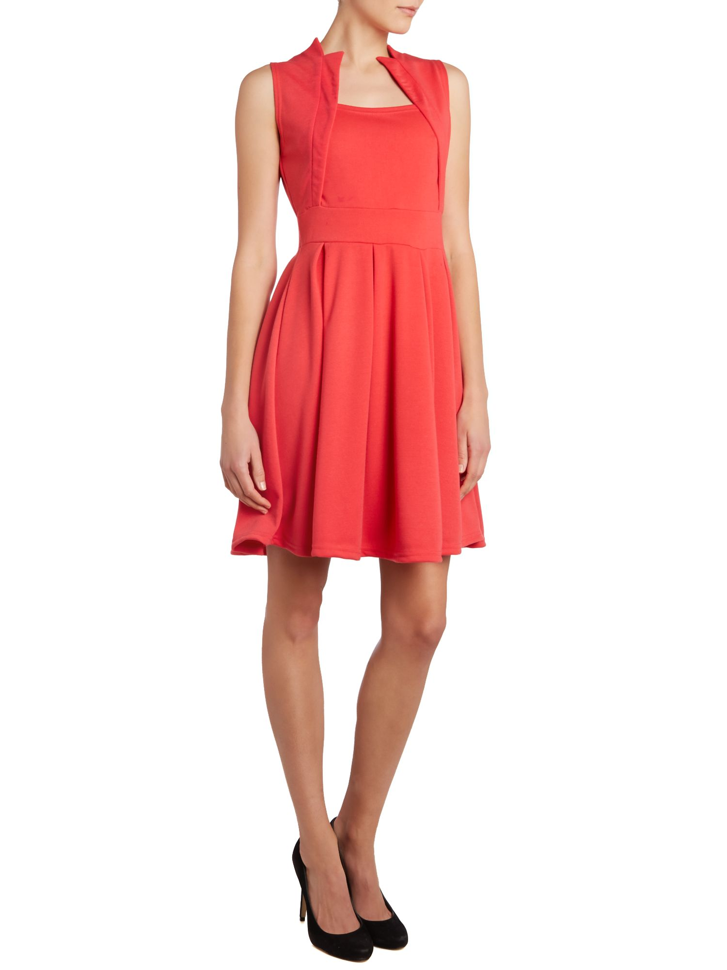 Square neck fit and flare dress