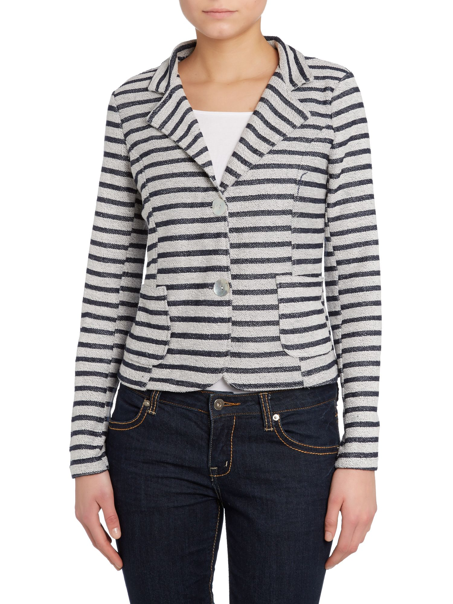 Horizontal striped blazer
