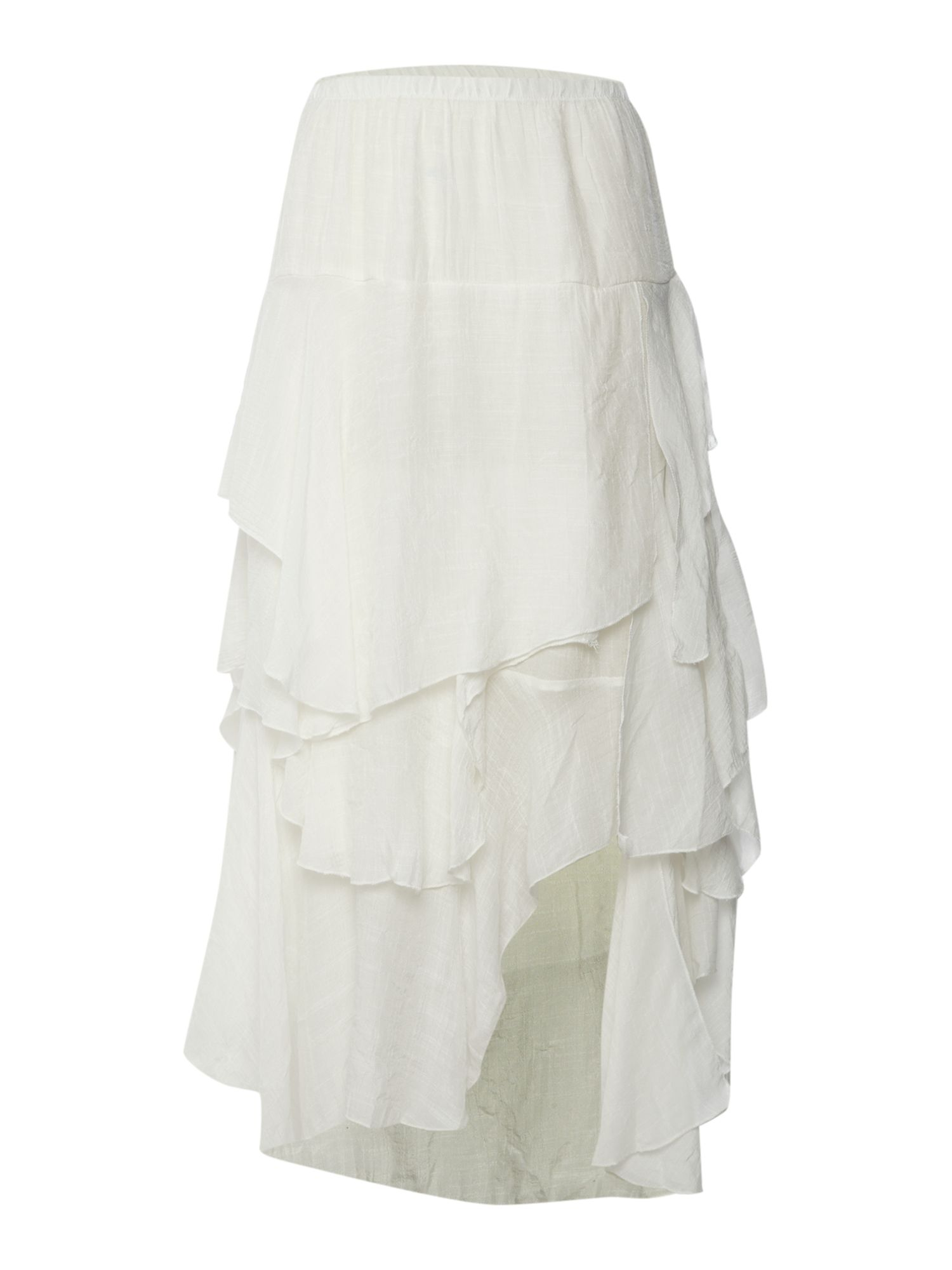 Maxi skirt with ruffled tiers