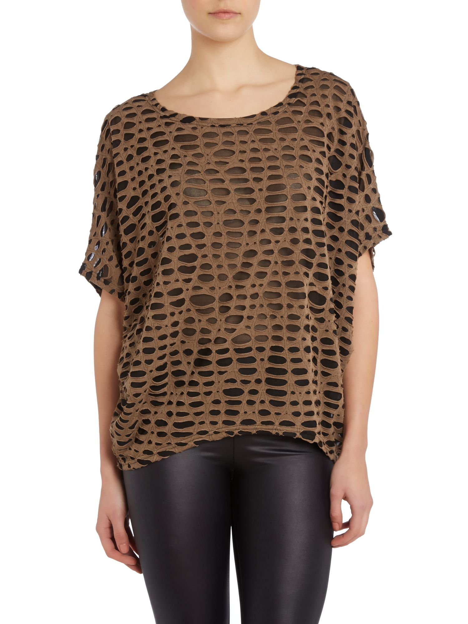 Net over layer batwing top