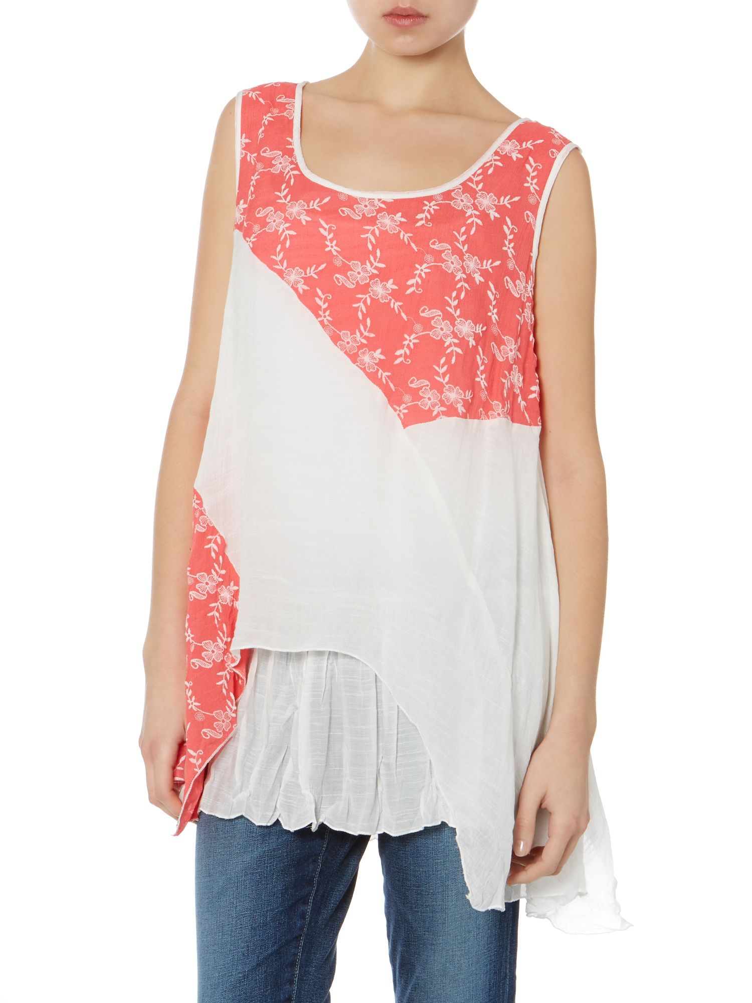 Sheer pleated hem top
