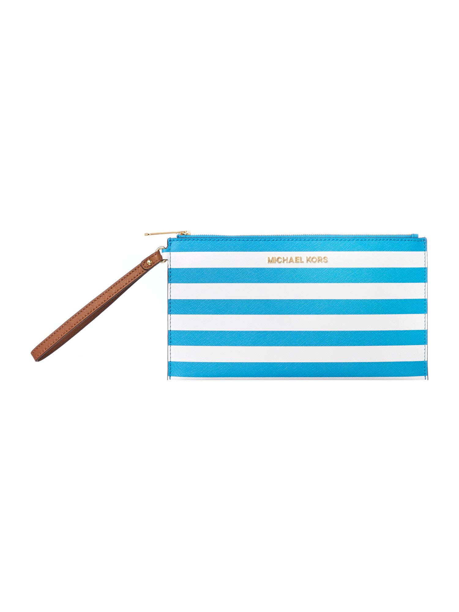 Multi coloured stripe clutch bag