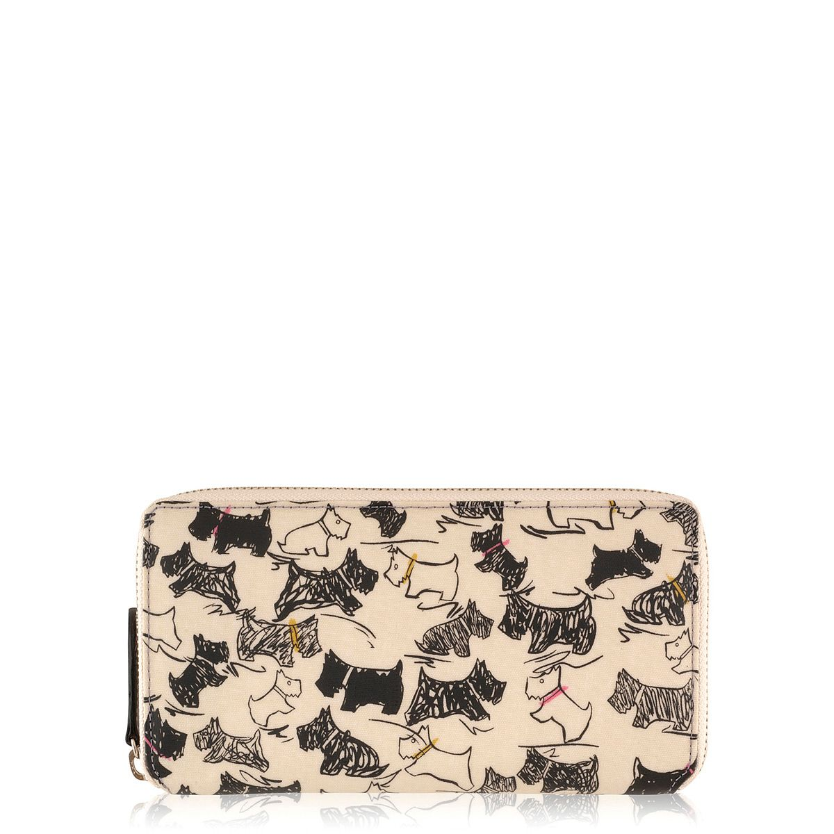 Doodle dog multi-coloured large zip around purse