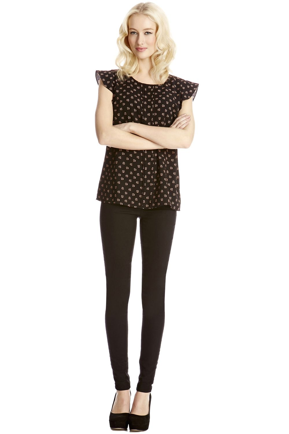 Spot crepe pintuck top