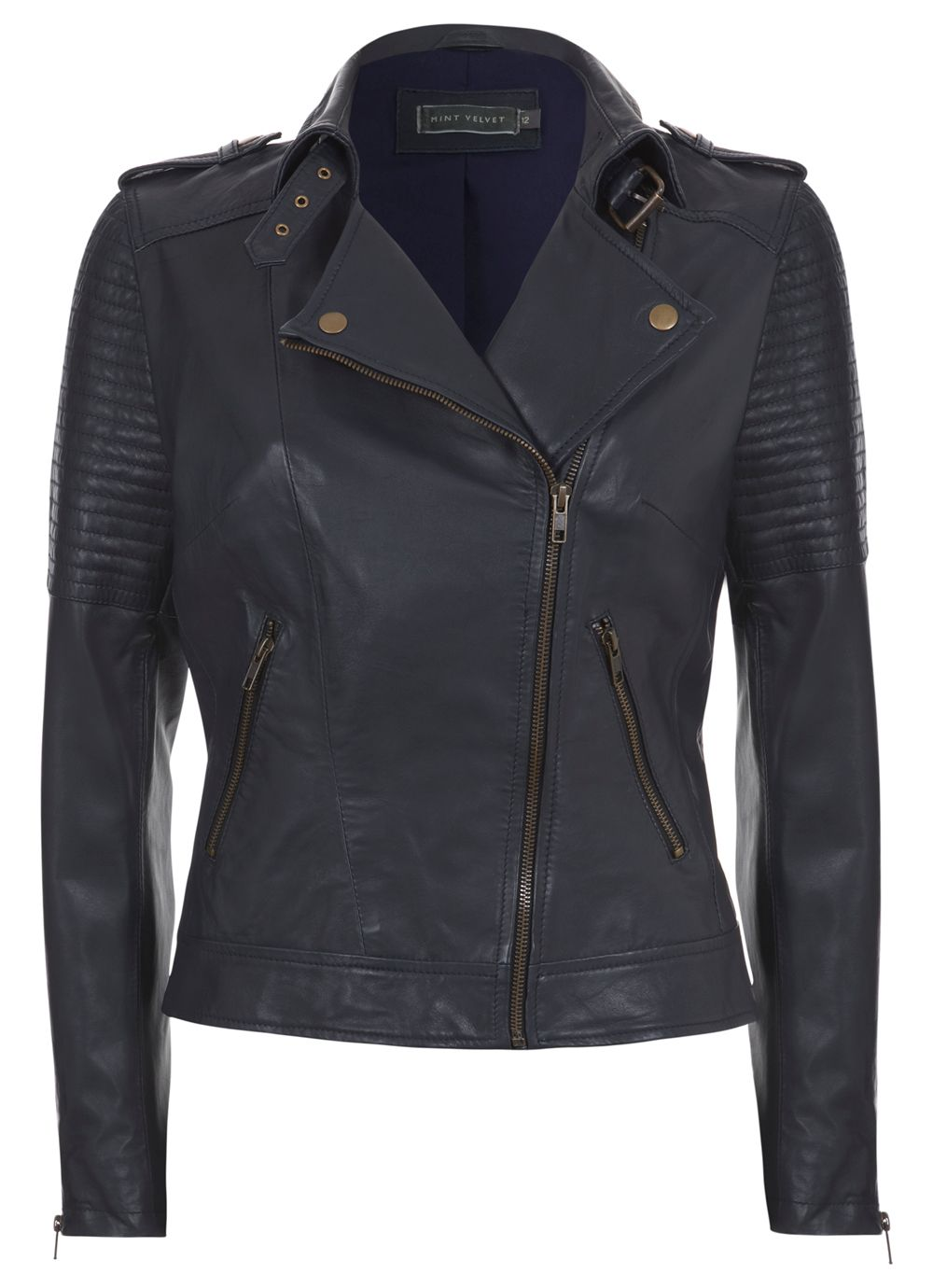 Ink Zip Leather Biker Jacket