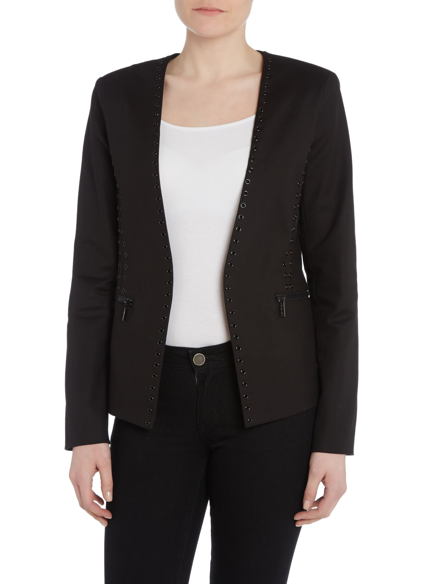 Collarless blazer with cut-out detail