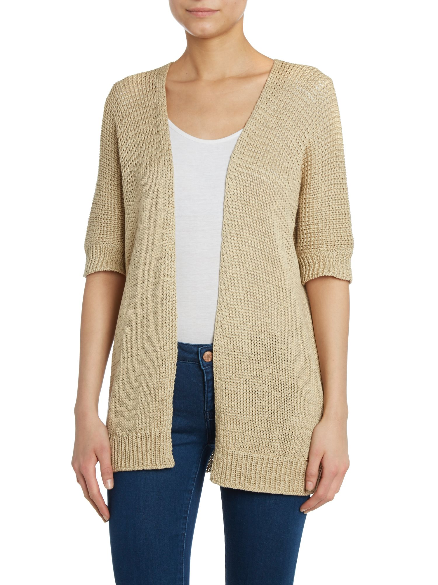 3/4 sleeved open knitted cardigan
