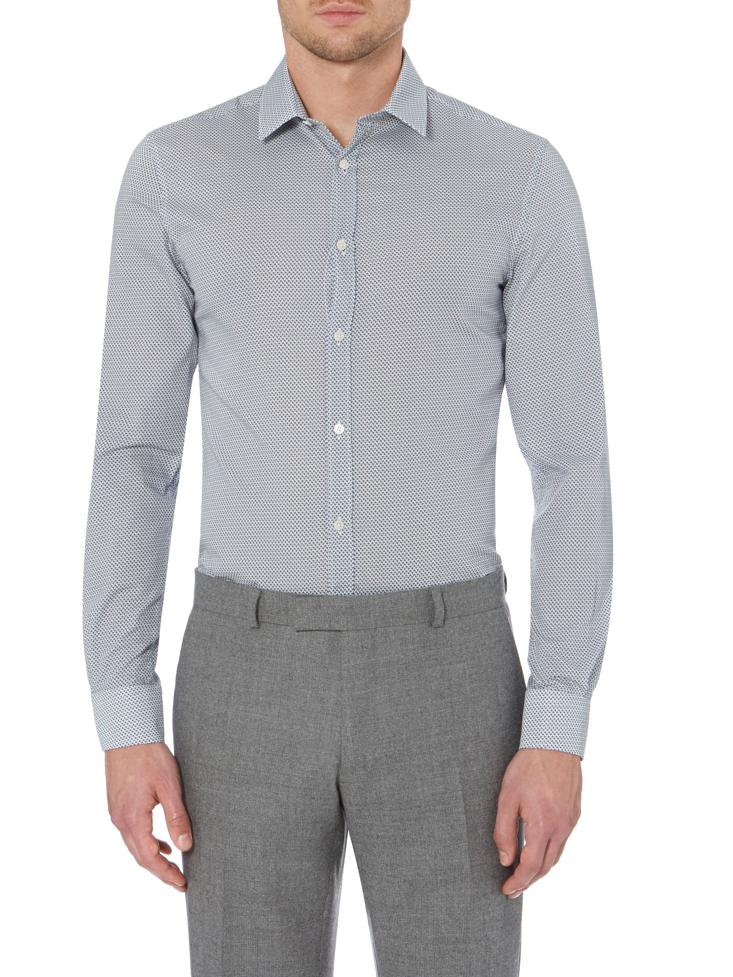 Temple square geo print stretch shirt