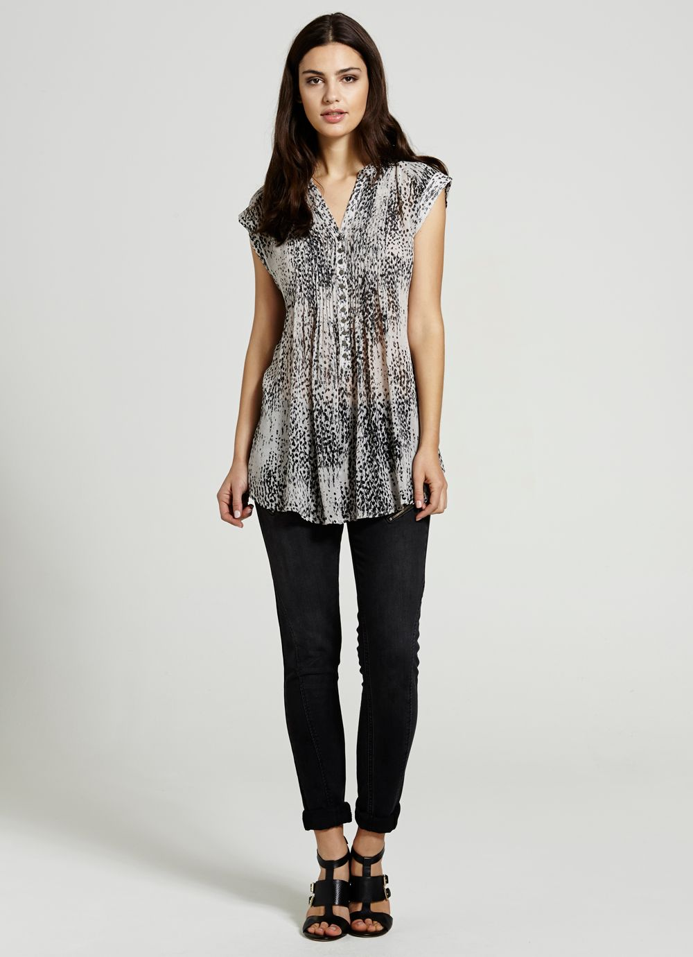Selena print beaded blouse