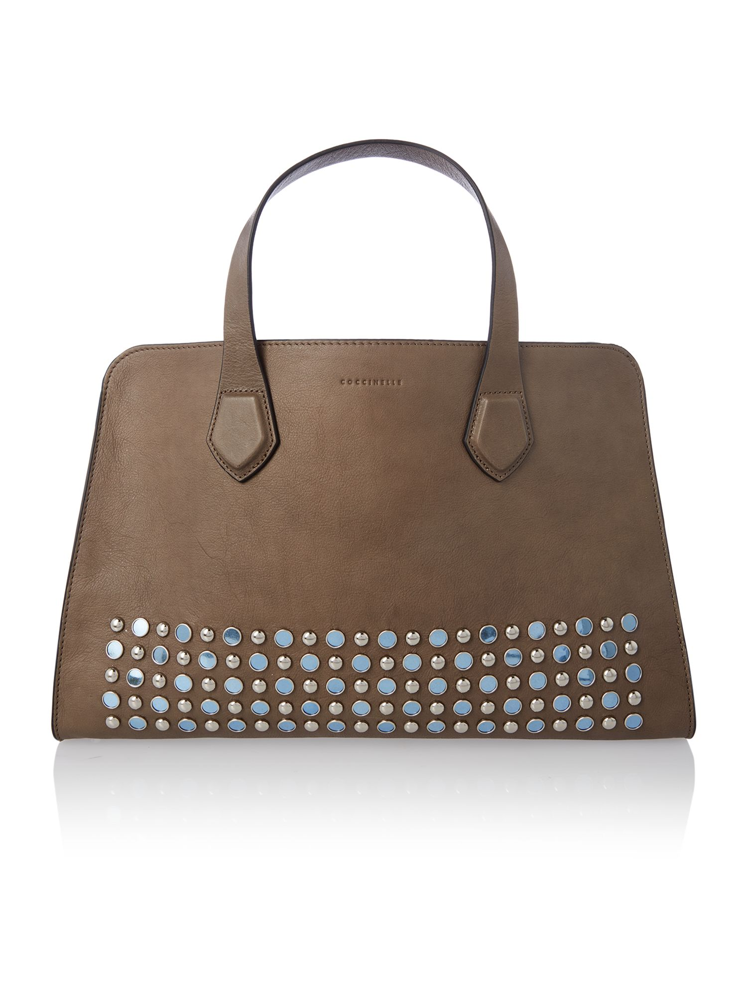 Moon taupe large tote bag with studs