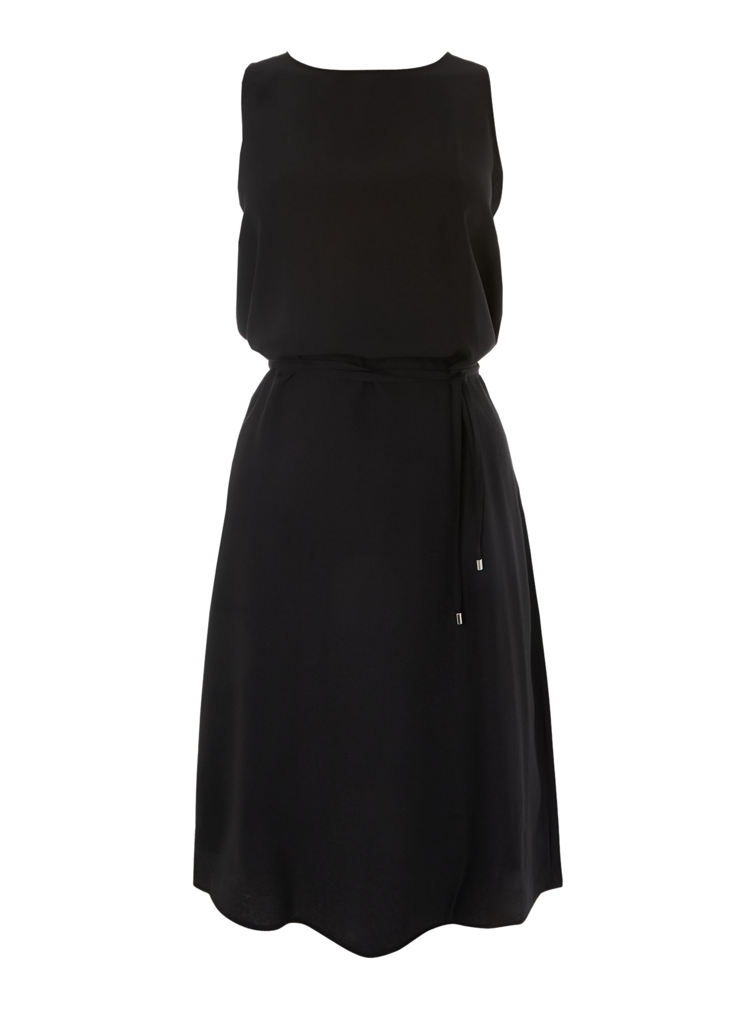 Sleeveless crepe dress with tie waist