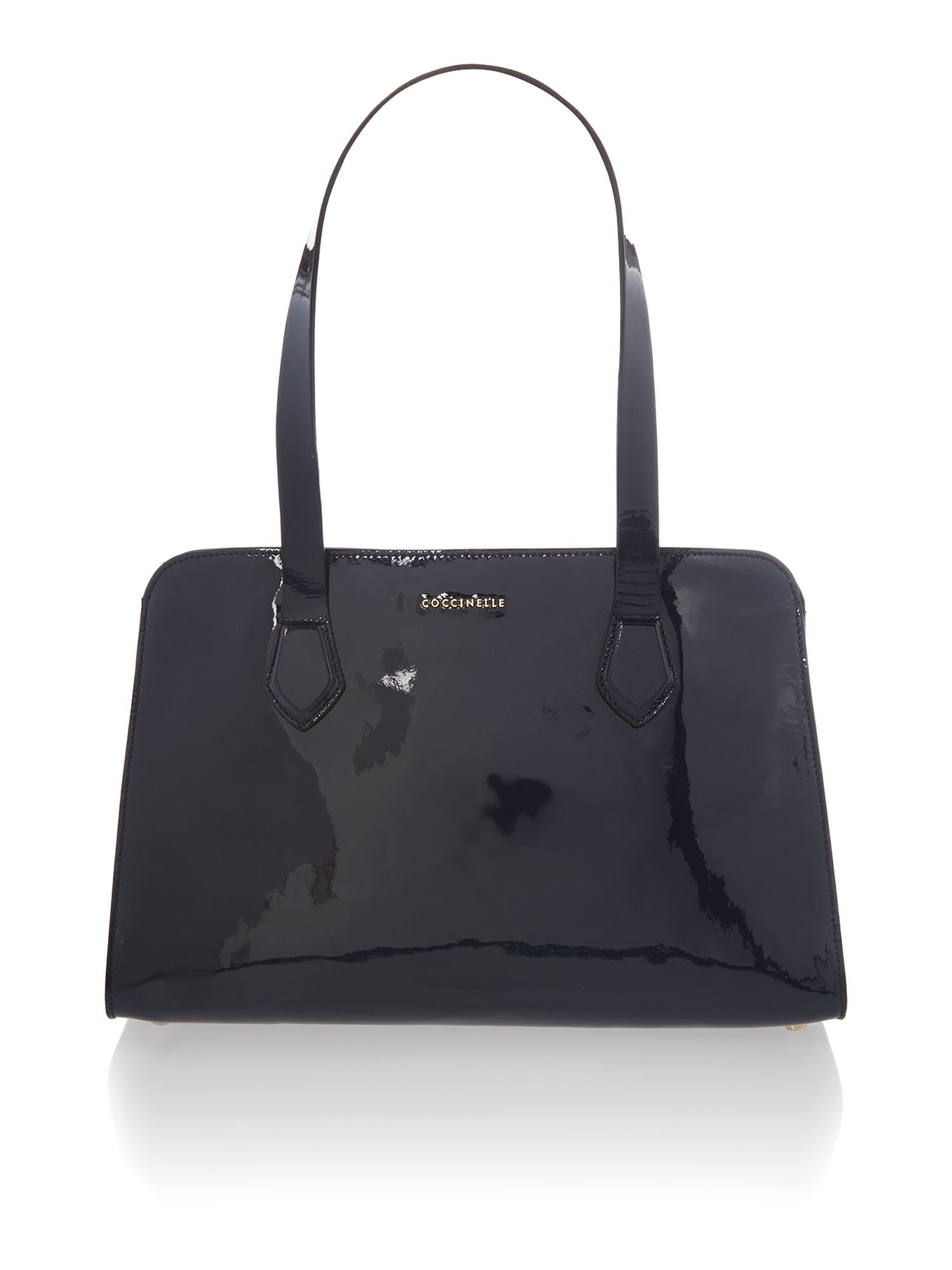 Moon navy patent small tote bag