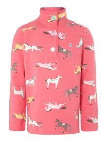 Girls button up pony print sweater