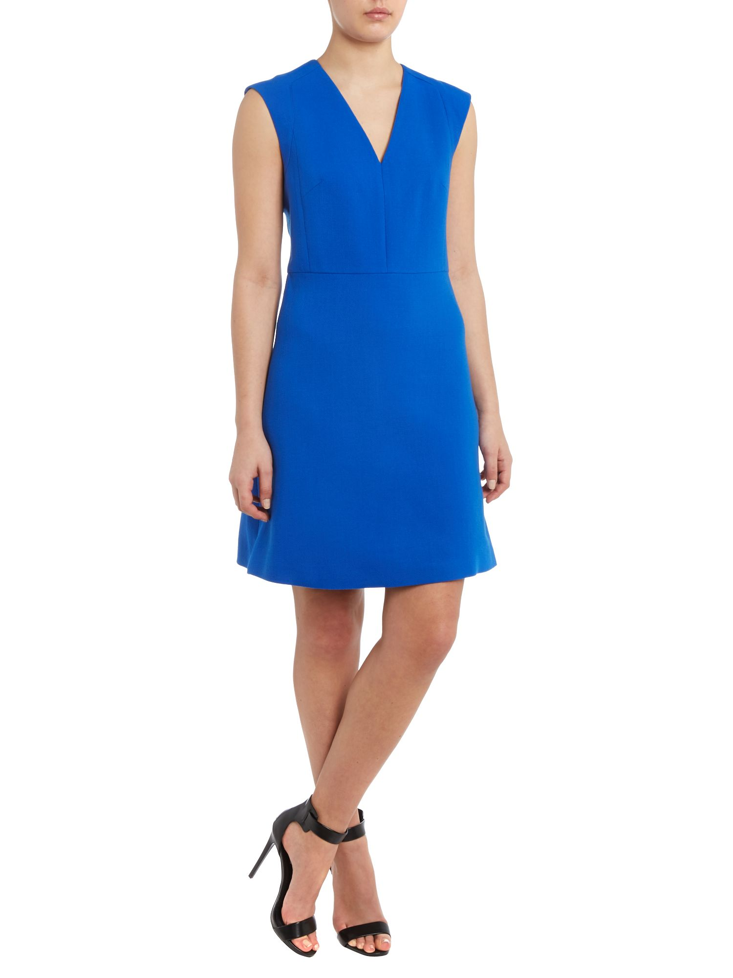 Sleeveless v neck dress with zip back