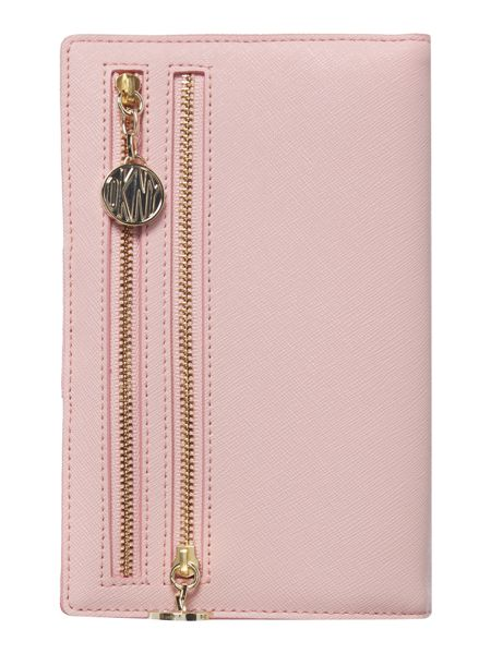 DKNY Saffiano pink travel wallet