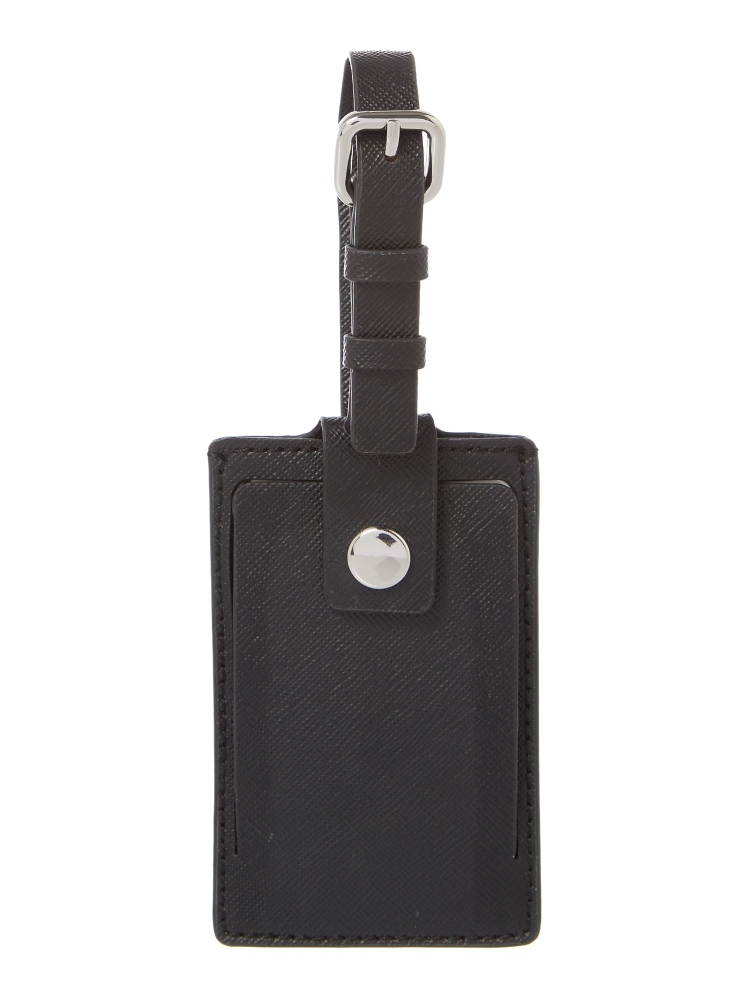 Saffiano black luggage tag