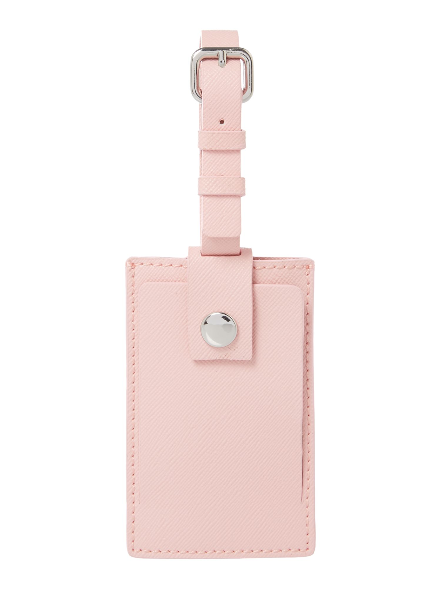 Saffiano pink luggage tag