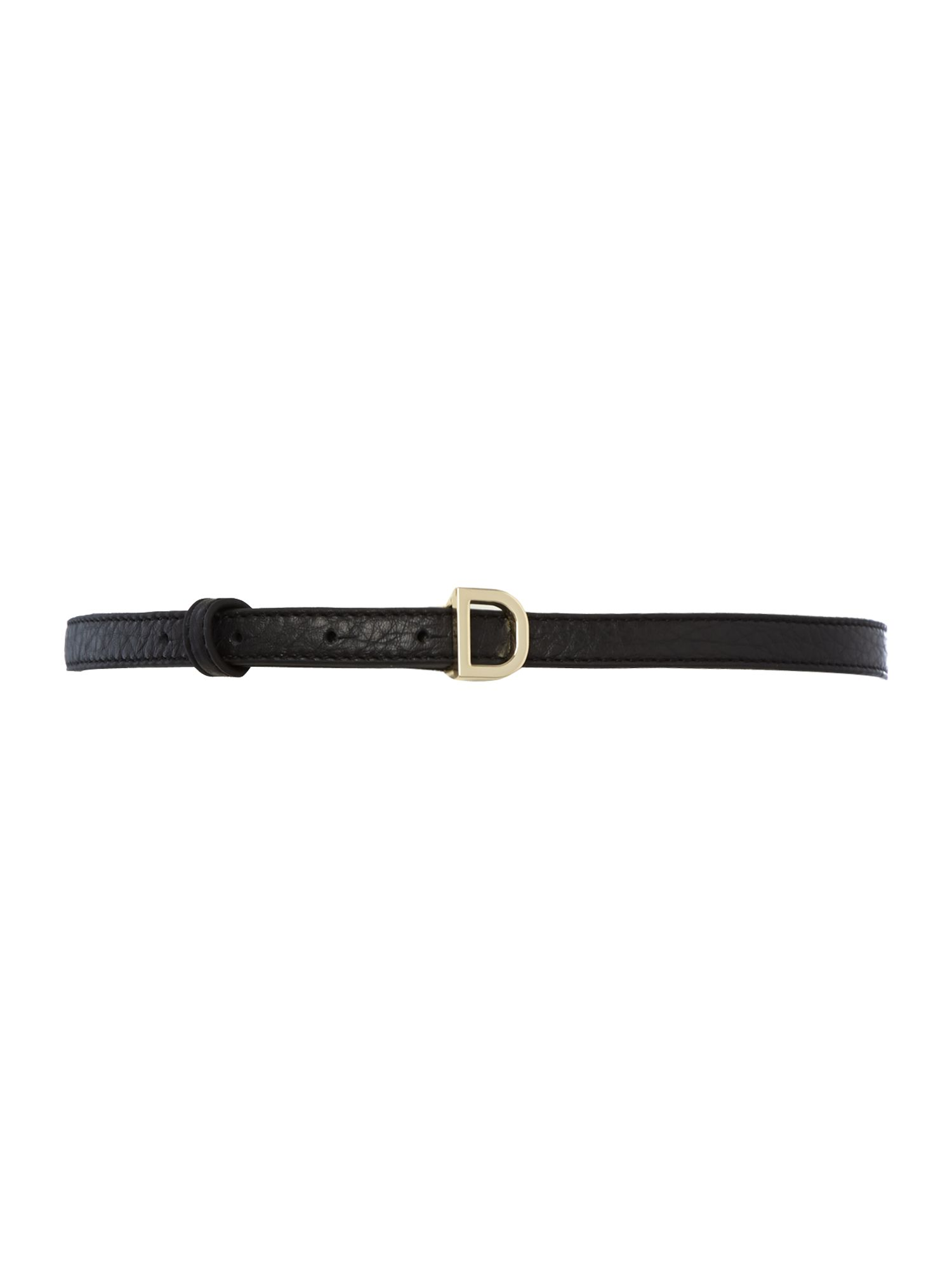 Leather skinny buckle belt