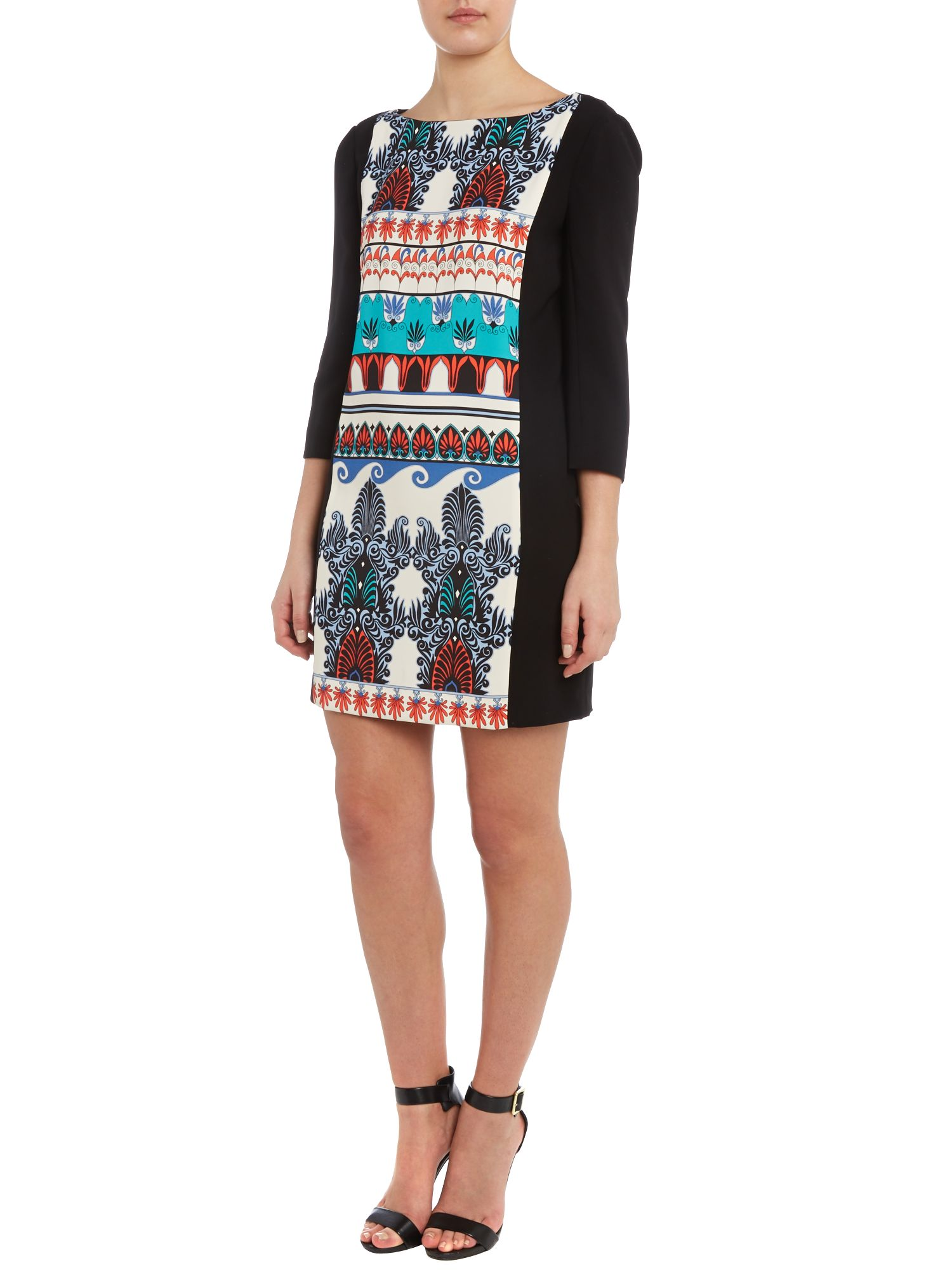 3/4 sleeved printed dress