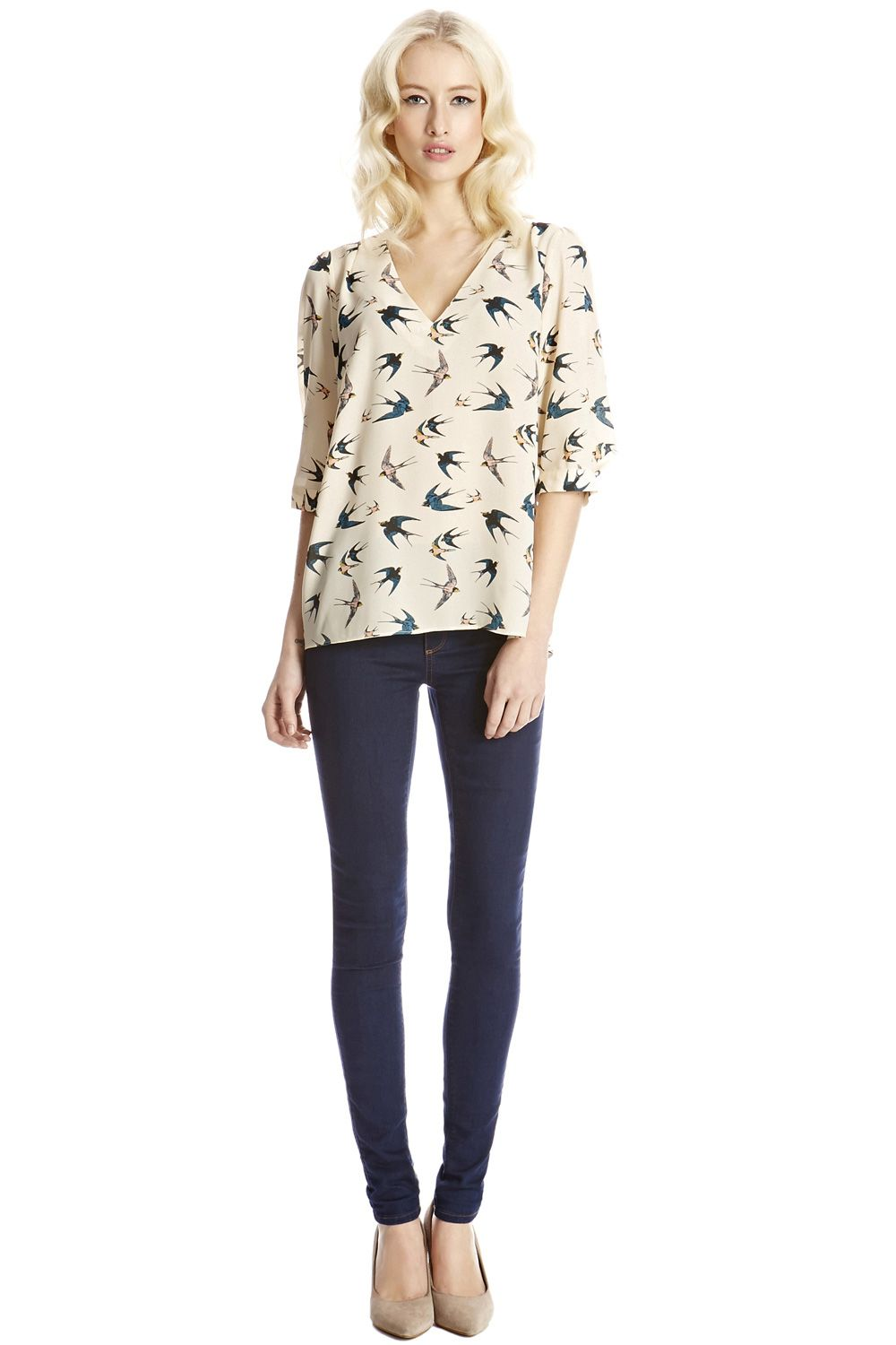 Bird print tabby top