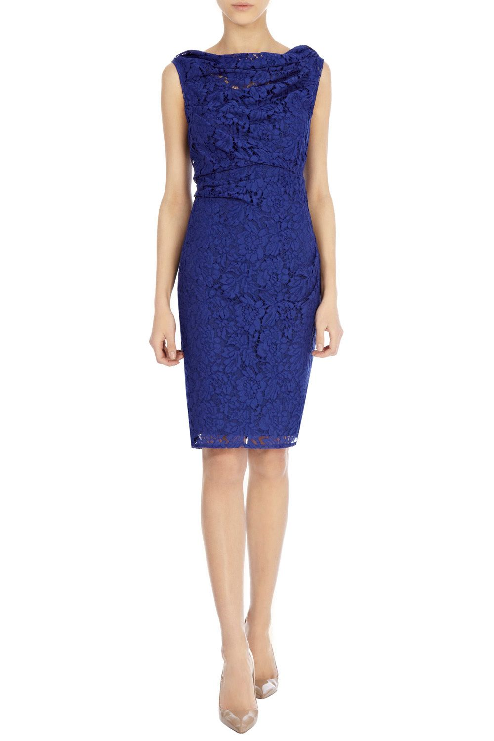 Lianna Drapped Neckline Lace Dress