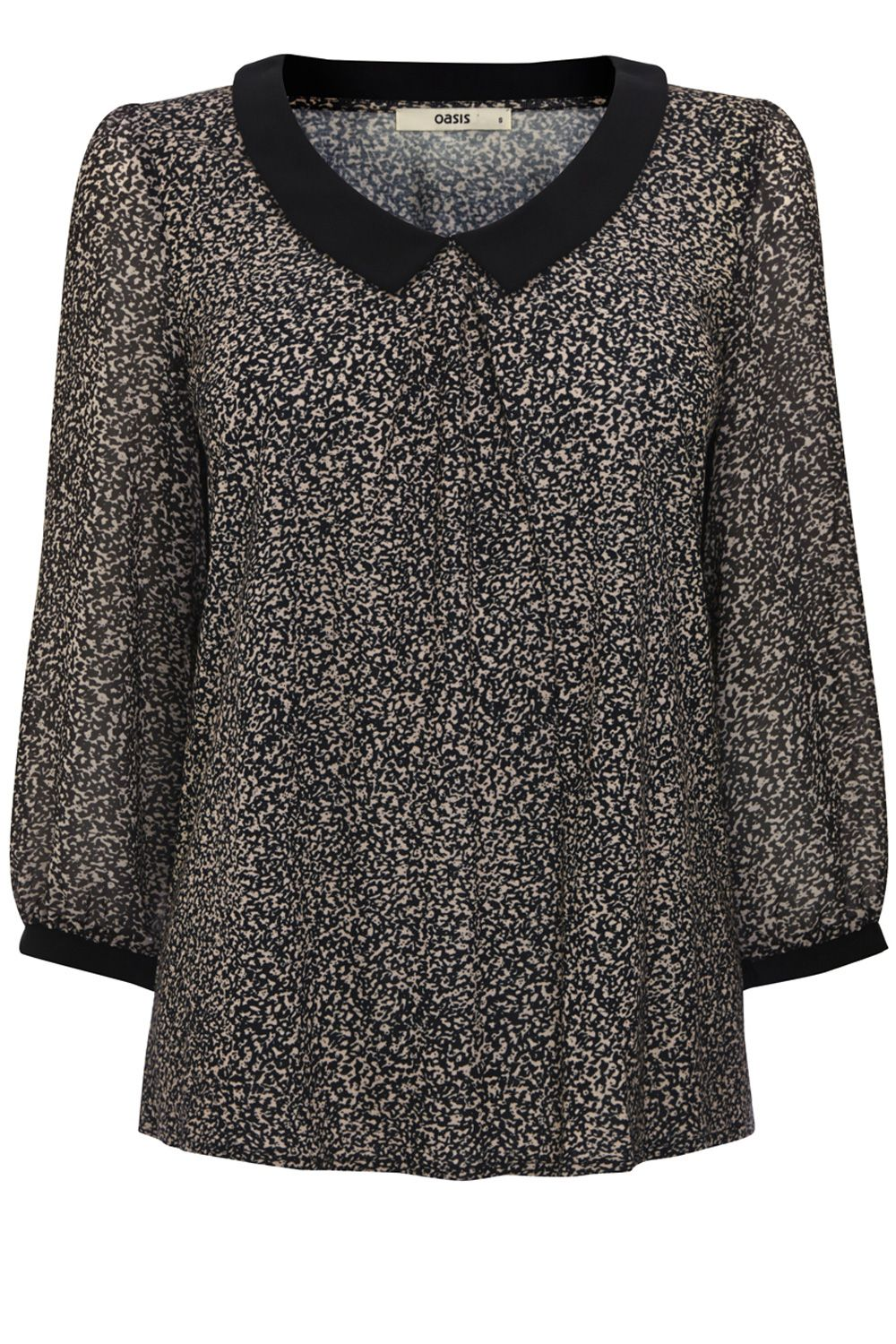 Animal print collar blouse
