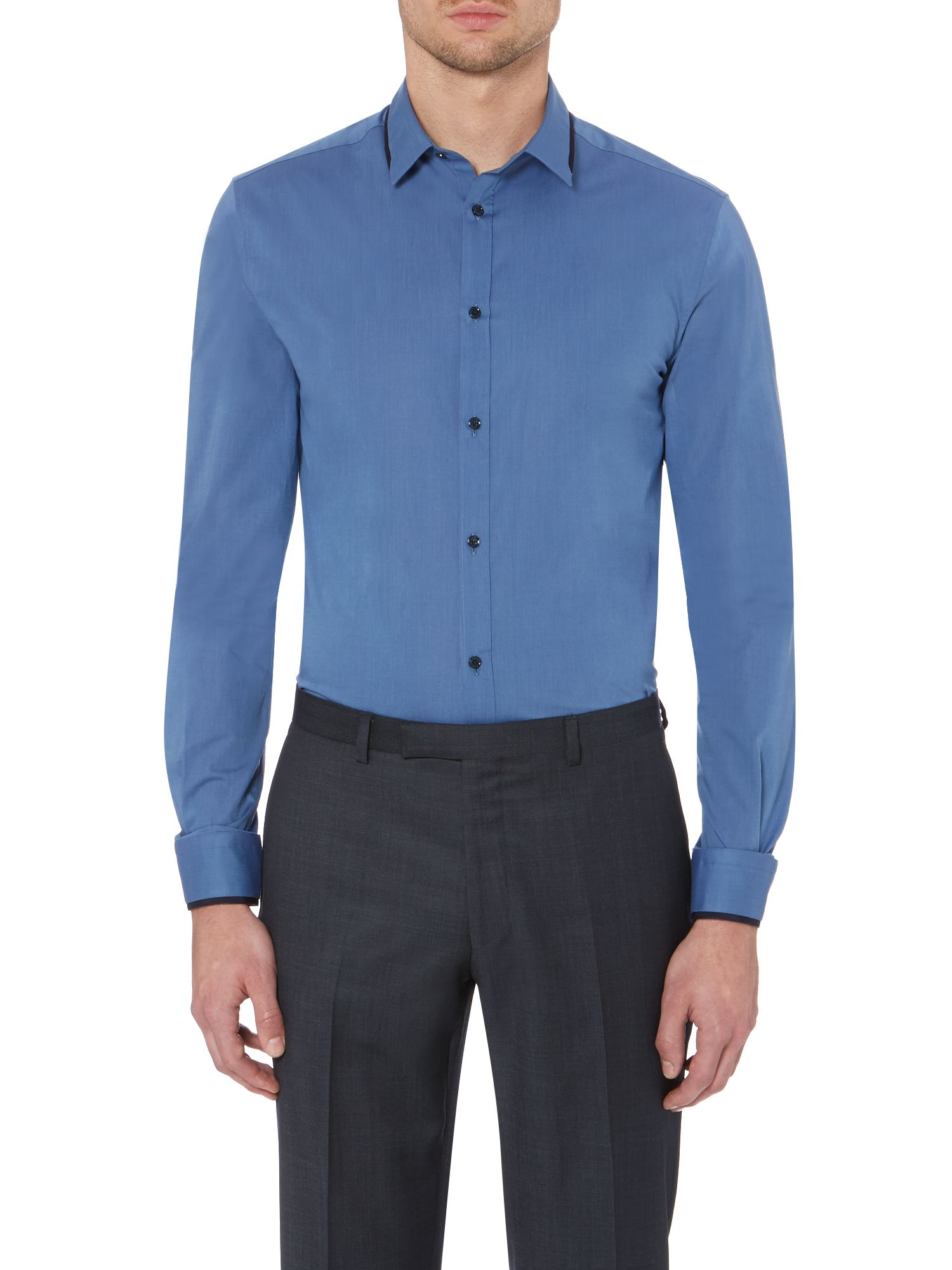 Milton collar and cuff grossgrain trim shirt