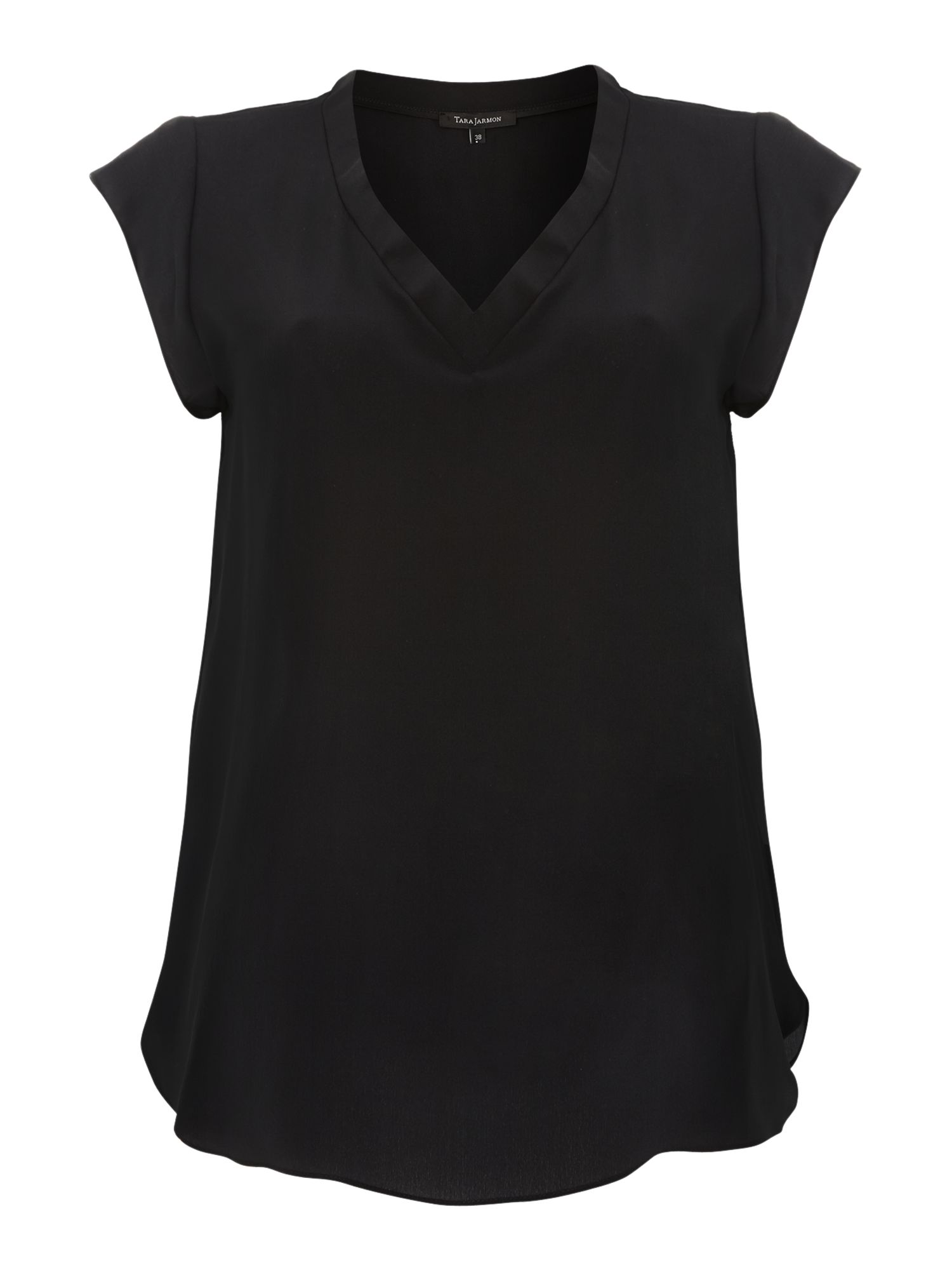 Silk v neck short sleeved blouse