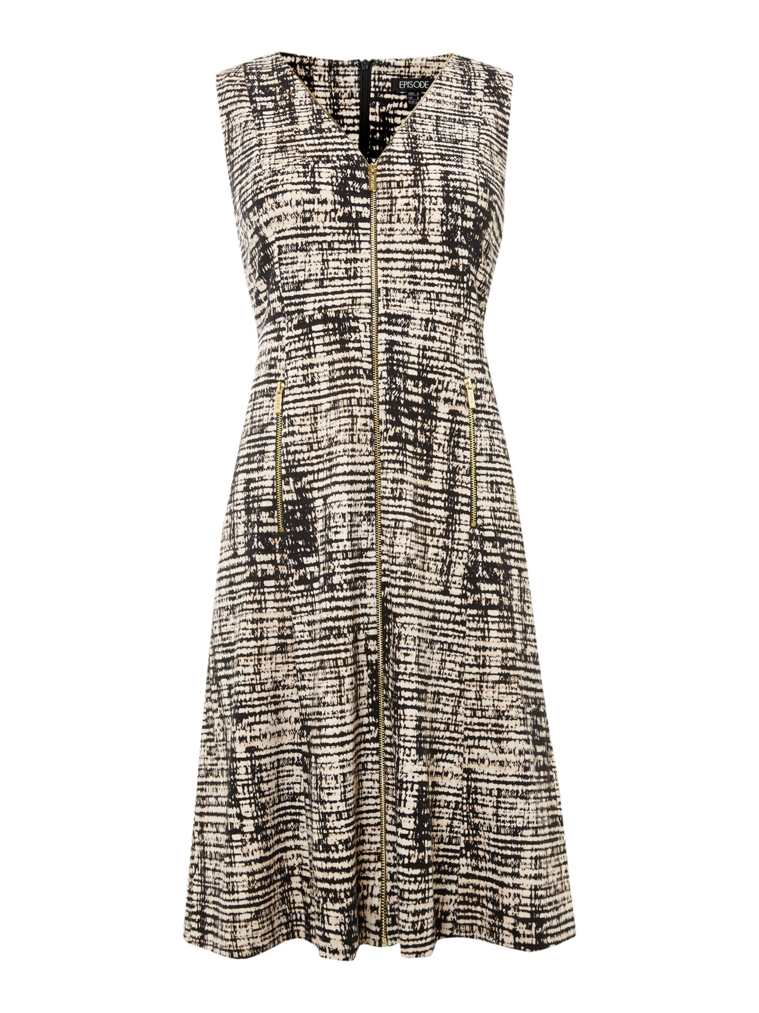 Window Pane Print Zip front ponte Dress