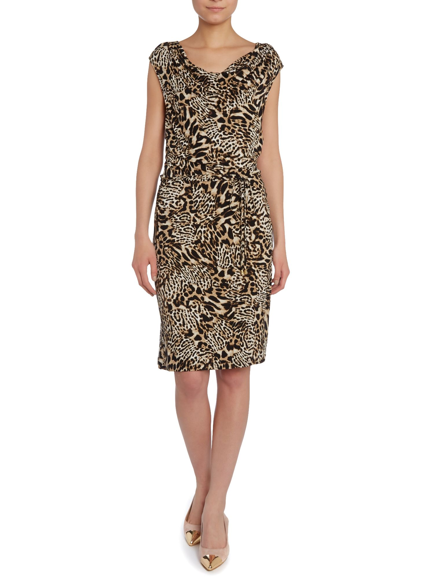 Animal Print Cowl Dress