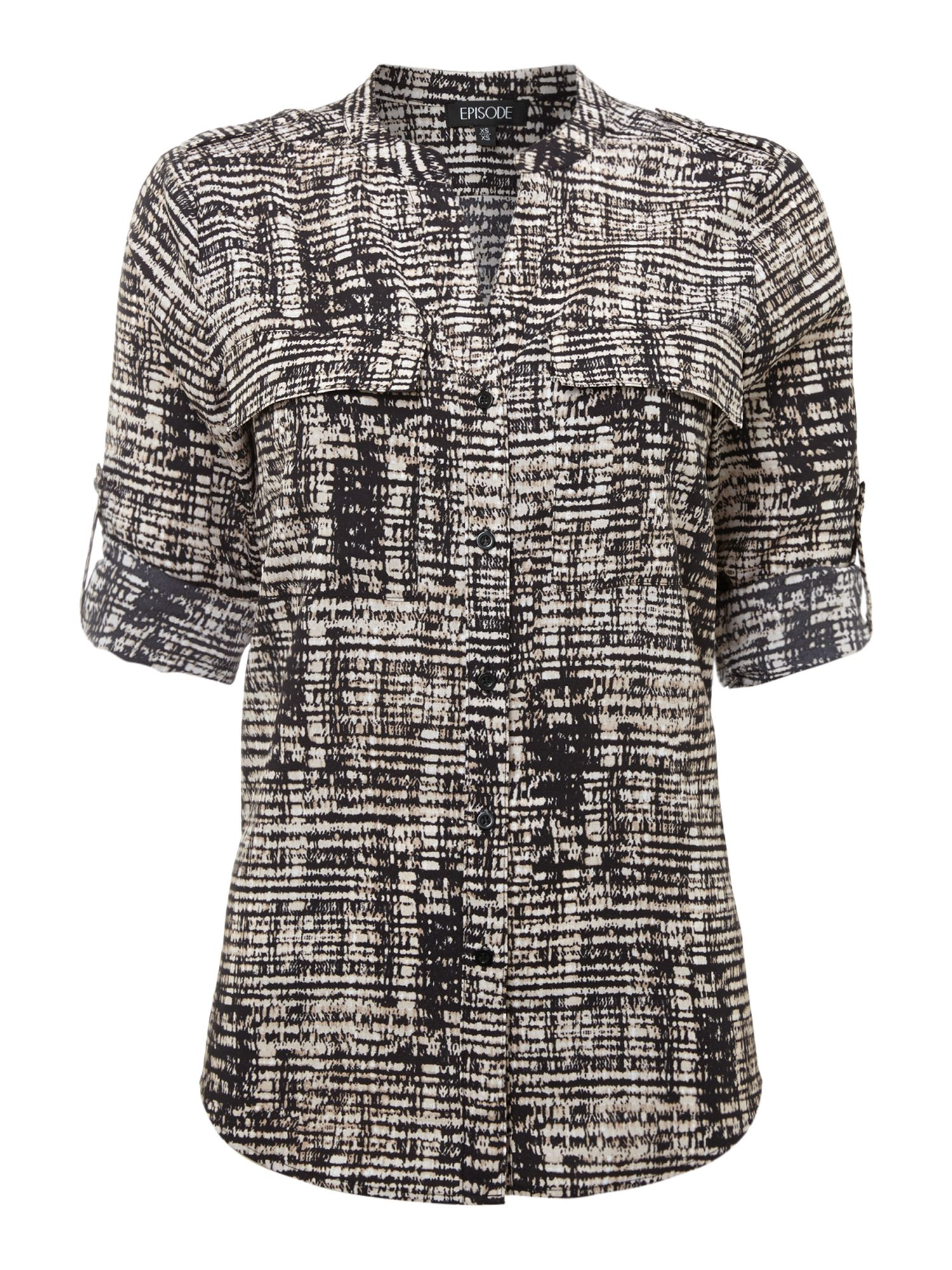 Window Pane Print Roll Sleeve Blouse