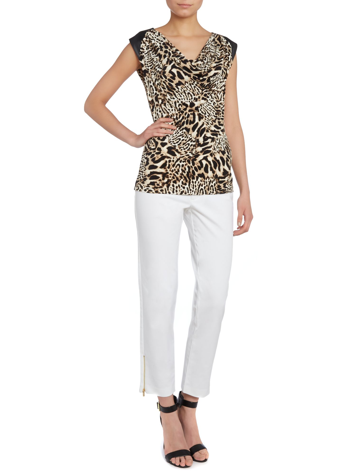 Animal Print Faux Leather Cowl Top