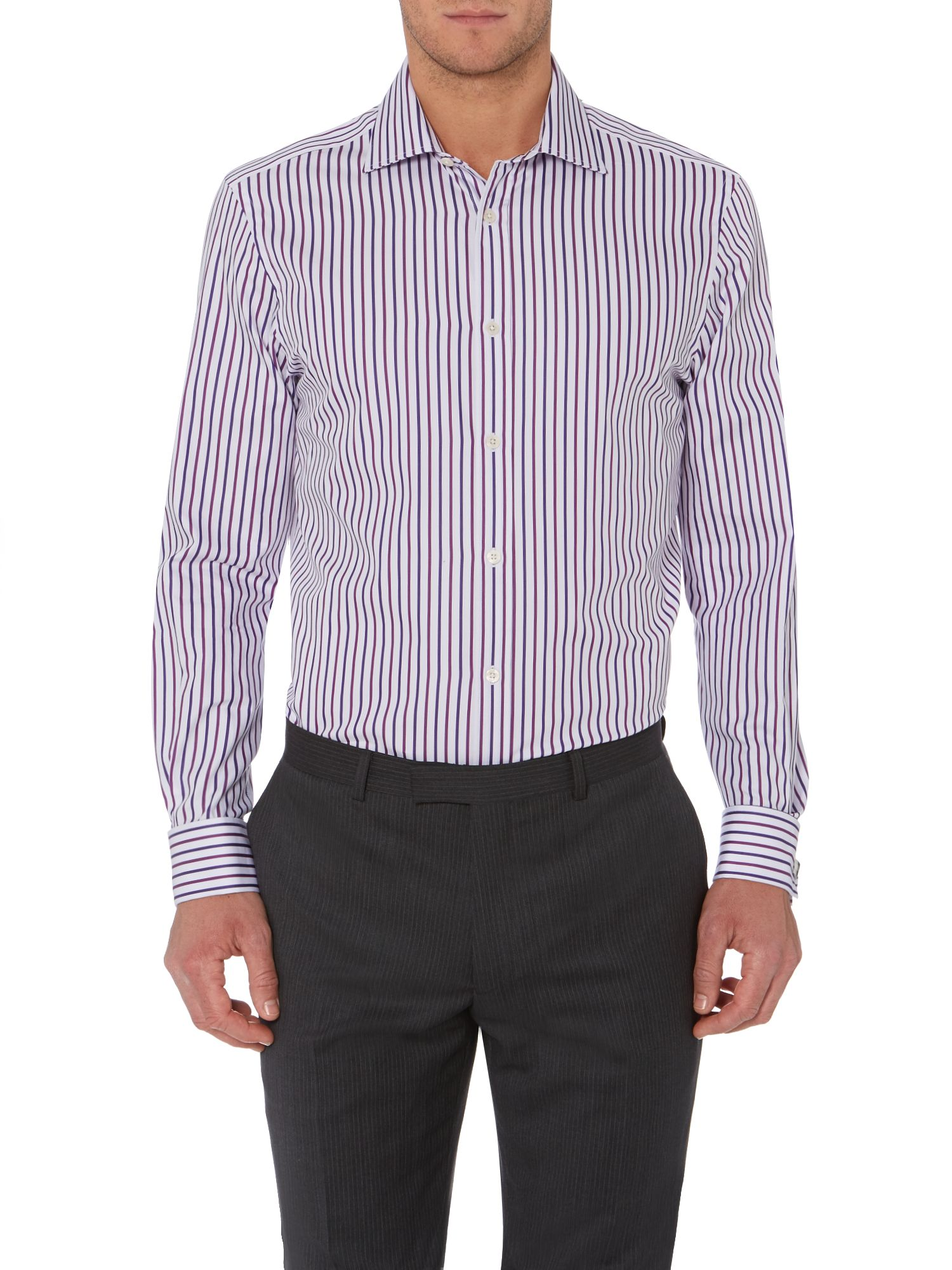 Yawkley satin stripe double cuff cutaway shirt