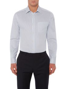 Howick Tailored Roslindale multi stripe shirt with pocket