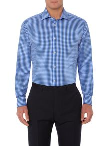 Bennington large check cutaway double cuff shirt