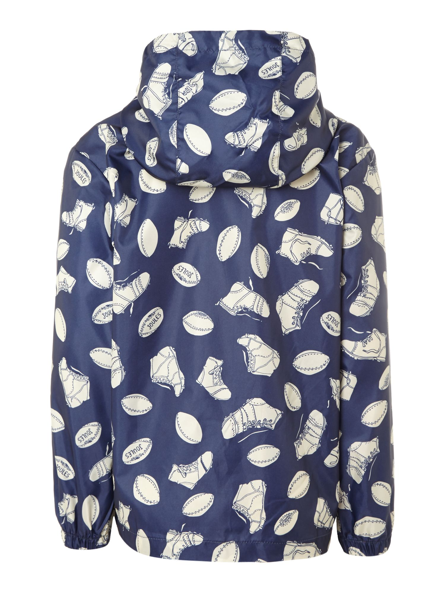 Boy`s rugby print showerproof fold-away raincoat