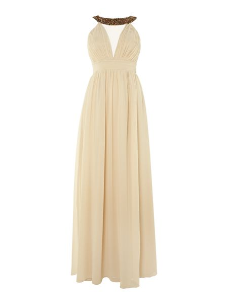 Mesh embellished neck maxi dress