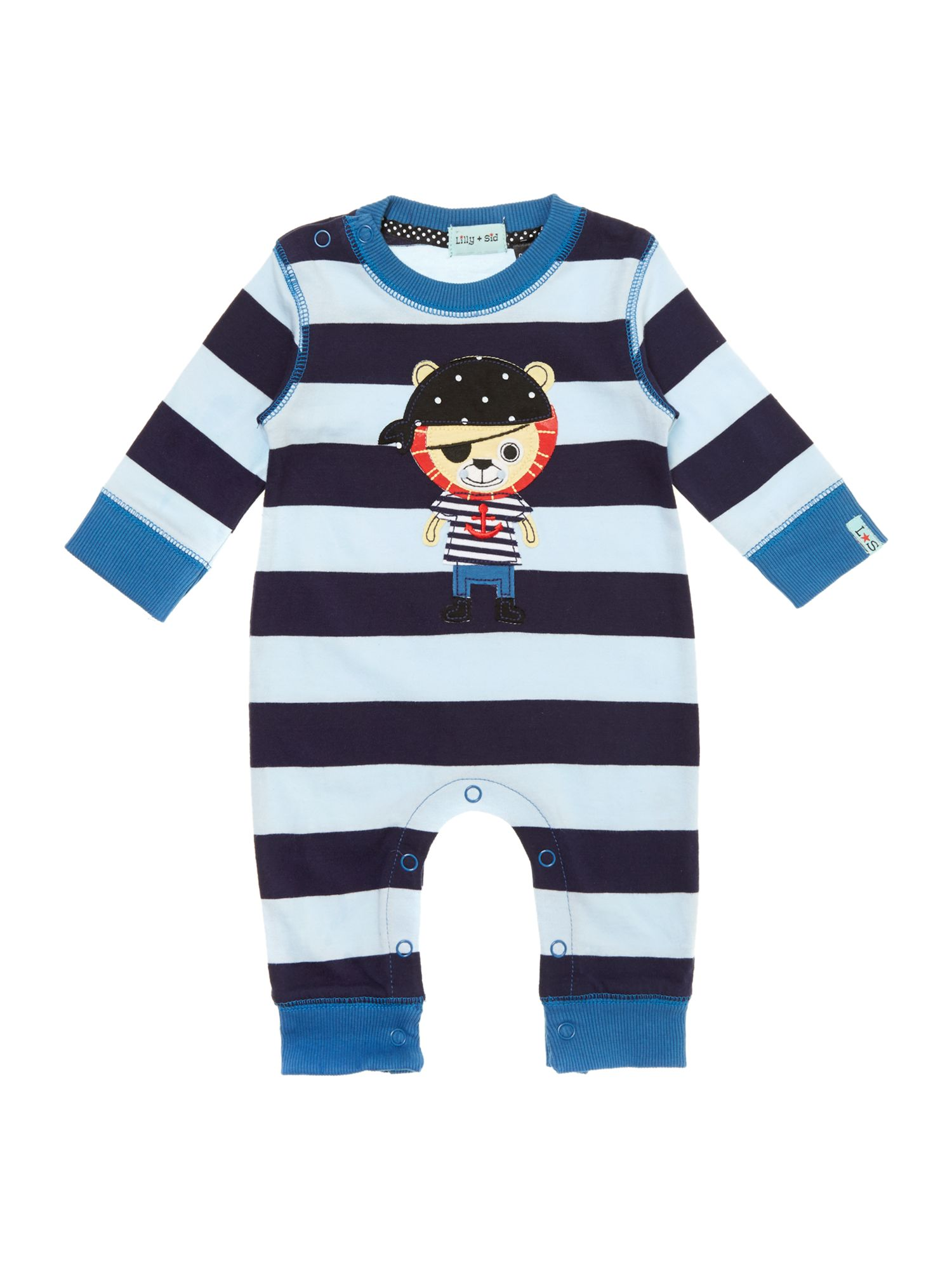 Baby boy pirate lion applique sleepsuit