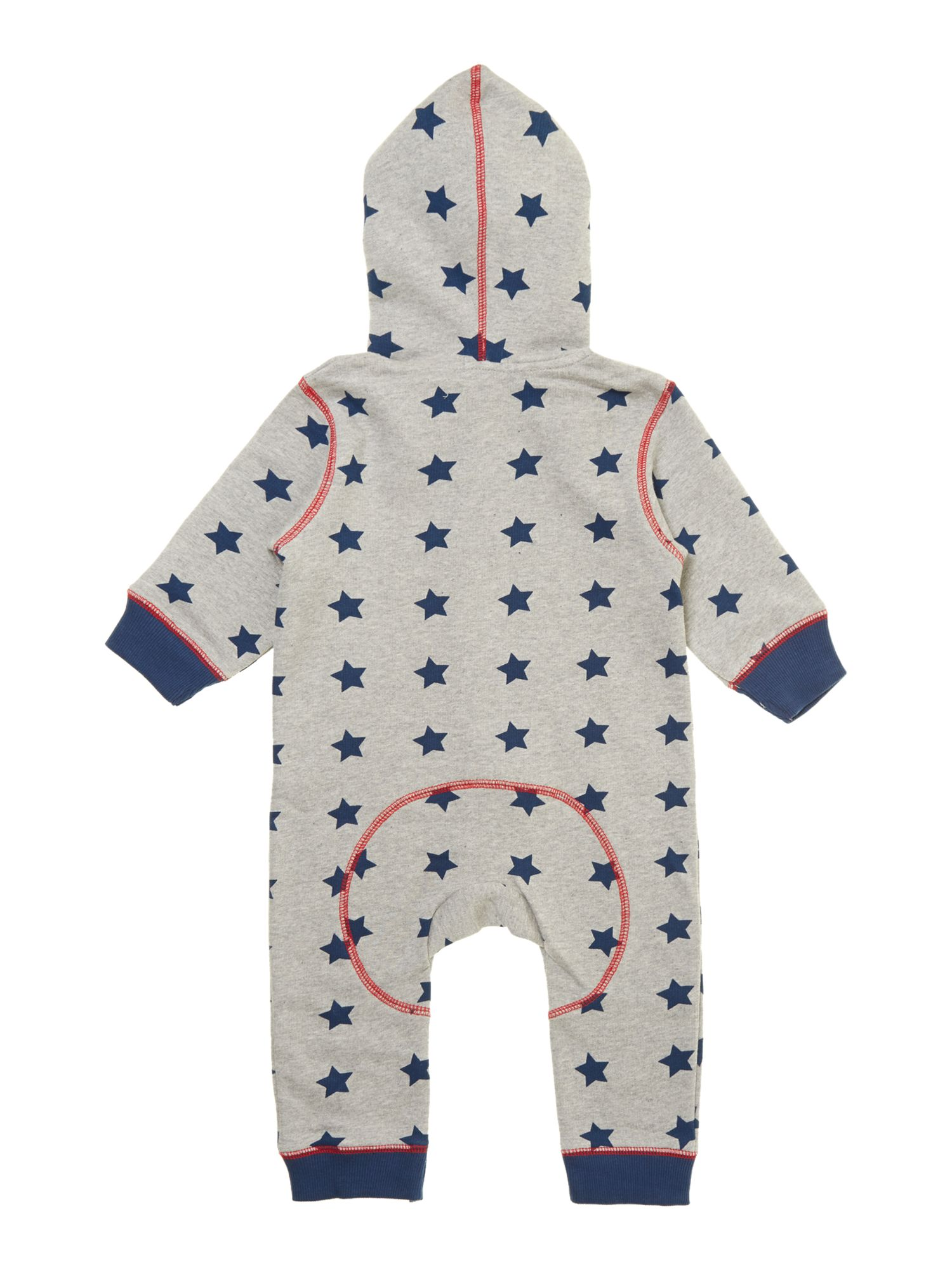 Baby boy star print hooded sweat all-in-one