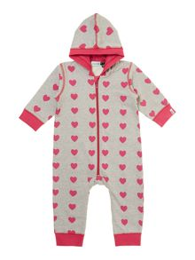 Baby girl heart print hooded sweat all-in-one