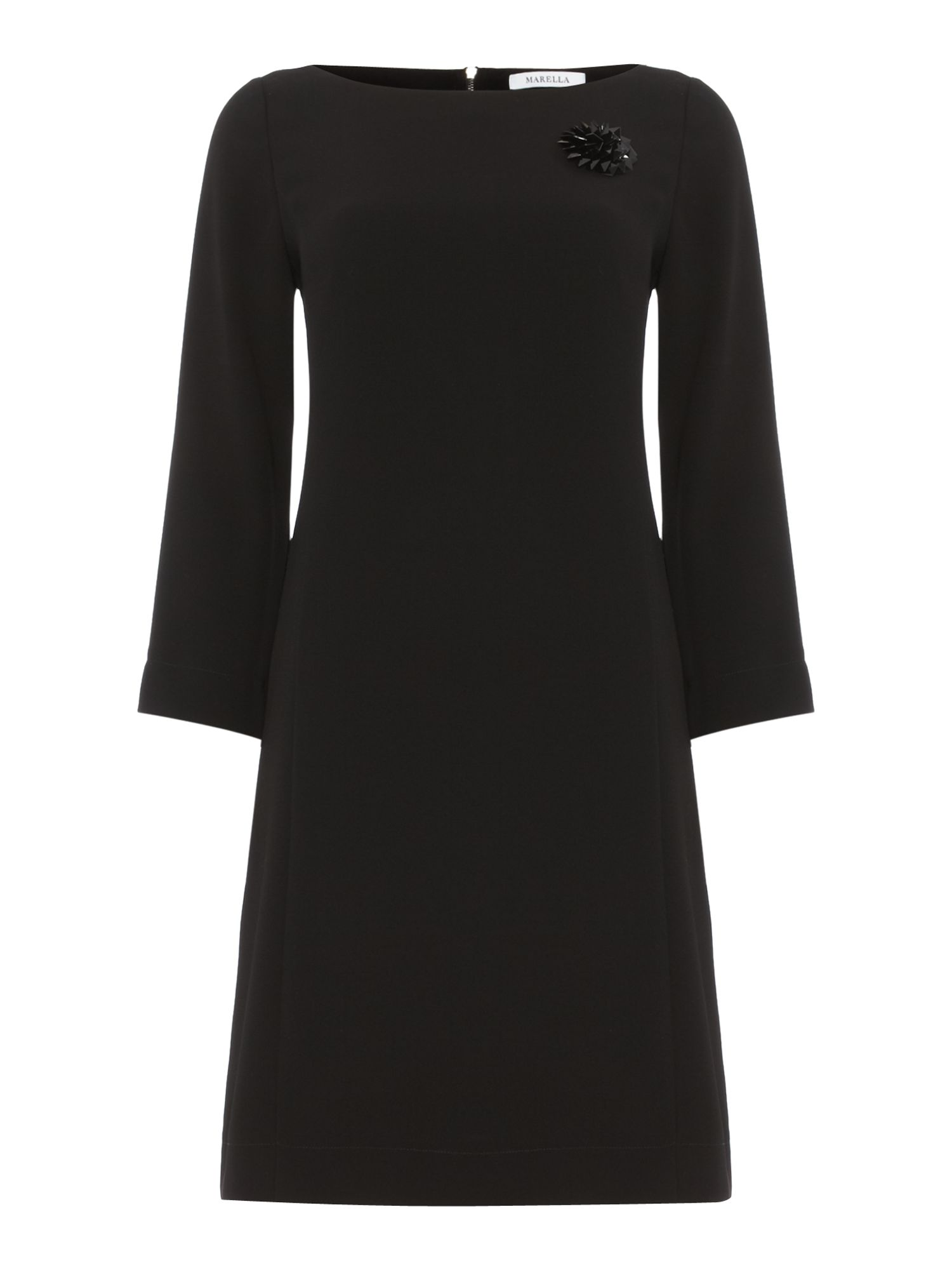 Stivale long sleeved shift dress with brooch