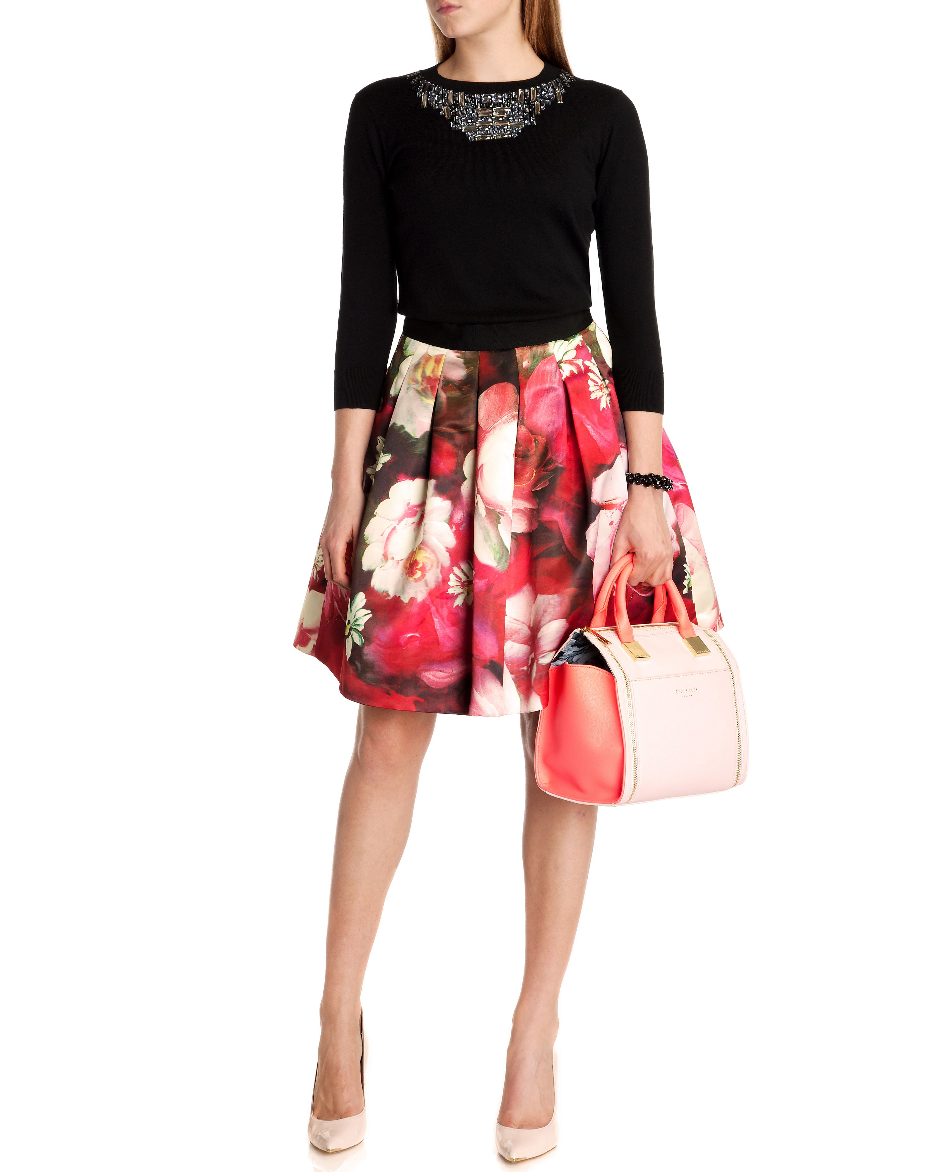 Monny rose on canvas printed skirt